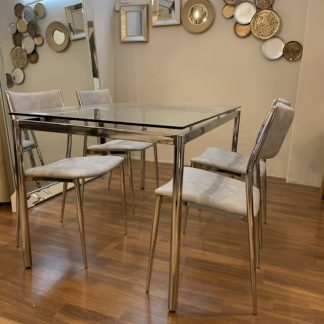 Comedor mesa 1,40x0,80 + 4 sillas (cromado)